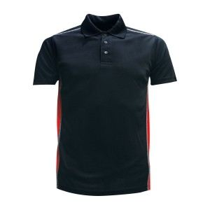 Lefonse Microfiber Dry Fit Cut & Sew Collar T-shirt (M21-01) BLACK with RED