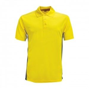 Lefonse Microfiber Dry Fit Cut & Sew Collar T-shirt (M21-10) YELLOW with BLACK