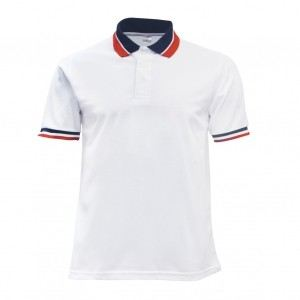 Lefonse Honey Comb Polo Cut & Sew T-Shirt(L13-00) WHITE BLACK RED'