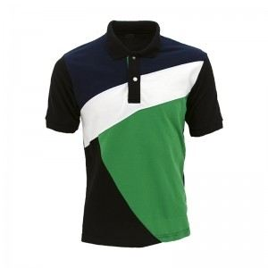 Lefonse Honey Comb Polo Cut & Sew T-Shirt (L09-20) MILO GREEN NAVY WHITE