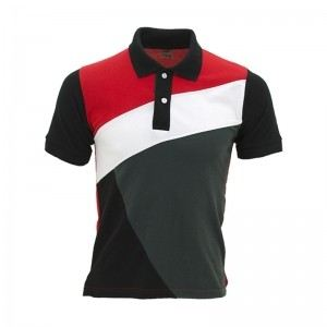 Lefonse Honey Comb Polo Cut & Sew T-Shirt (L09-25) RED DARK GREY WHITE