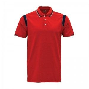 Lefonse Honey Comb Polo Cut & Sew T-Shirt (L08-03) RED NAVY GREY