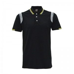 Lefonse Honey Comb Polo Cut & Sew T-Shirt (L08-01) BLACK YELLOW GREY