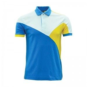 Lefonse Honey Comb Polo Cut & Sew T-Shirt (L07-17) SEA BLUE YELLOW WHITE