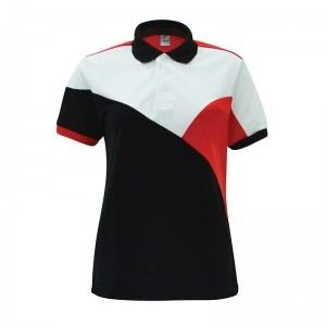 Lefonse Honey Comb Polo Cut & Sew T-Shirt (L07-01) BLACK RED WHITE