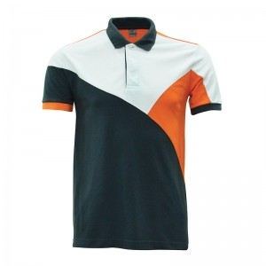 Lefonse Honey Comb Polo Cut & Sew T-Shirt (L07-25) DARK GREY ORANGE WHITE