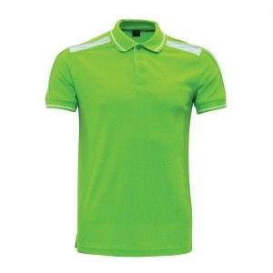 Lefonse Honey Comb Polo Cut & Sew T-Shirt(L06-11) APPLE GREENwith WHITE