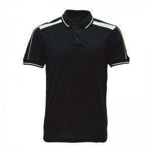 Lefonse Honey Comb Polo Cut & Sew T-Shirt(L06-01) BLACK with WHITE