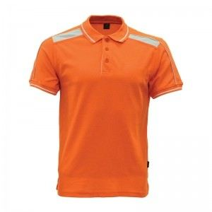 Lefonse Honey Comb Polo Cut & Sew T-Shirt(L06-06) ORANGE with WHITE