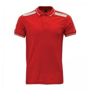 Lefonse Honey Comb Polo Cut & Sew T-Shirt(L06-03) RED with WHITE