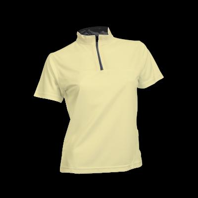 QD2104 Yellow Oren Sport Quick Dry Mock Neck Tshirt LIGHT YELLOW with BLACK(ZIPPER) Female