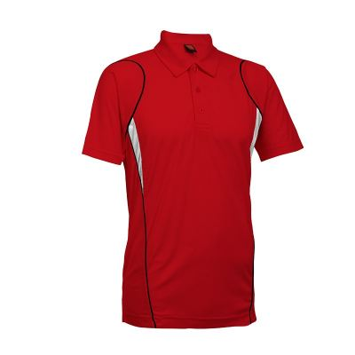QD2505 Red Oren Sport Quick Dry Collar Tshirt RED with WHITE