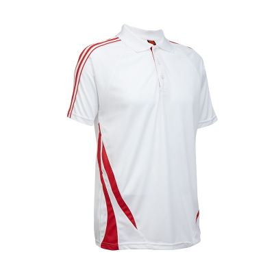 QD2735 White/Red Oren Sport Quick Dry Collar Tshirt WHITE with RED