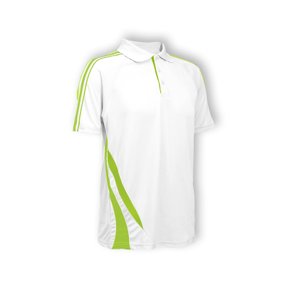 QD2733 White/Lime Green Oren Sport Quick Dry Collar Tshirt WHITE with LIME GREEN