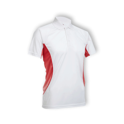 QD3135 White/Red-White Oren Sport Quick Dry Collar Tshirt WHITE with RED