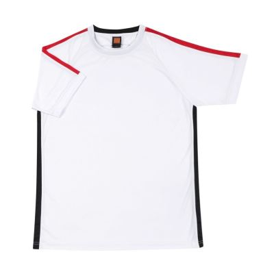 QD4200 White Oren Sport Quick Dry Round Neck WHITE with RED with BLACK