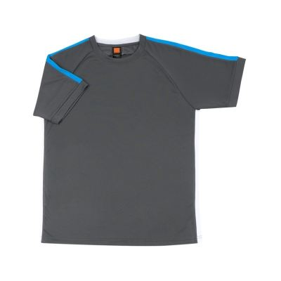 QD4224 Dark Grey Oren Sport Quick Dry Round Neck GREY with SEA BLUE with WHITE