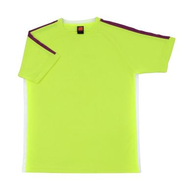 QD4269 Meon Yellow Oren Sport Quick Dry Round Neck NEON YELLOW with PURPLE with WHITE