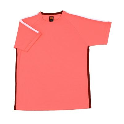 QD4270 Neon Peach Oren Sport Quick Dry Round Neck NEON PEACH with WHITE with MAROON