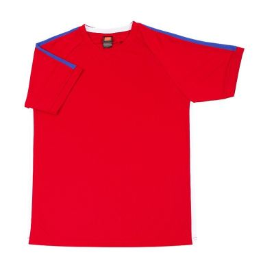 QD4205 Red Oren Sport Quick Dry Round Neck RED with ROYAL with WHITE