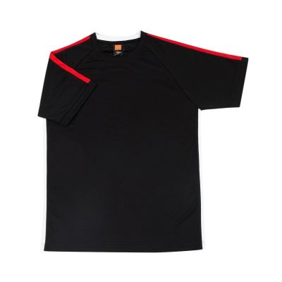 QD4202 Black Oren Sport Quick Dry Round Neck BLACK with RED with WHITE