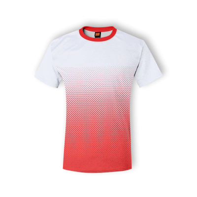 QD4300 White/Red Oren Sport Quick Dry Round Neck WHITE with RED