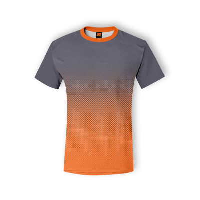 QD4324 Dark Grey/Orange Oren Sport Quick Dry Round Neck GREY with ORANGE