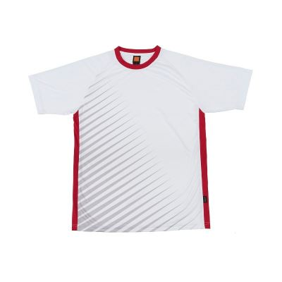 QD46 White/Red Oren Sport Quick Dry Round Neck WHITE with RED