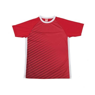 QD4605 Red/White Oren Sport Quick Dry Round Neck RED with WHITE