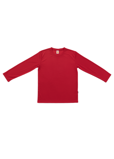 QD5405 Red Oren Sport Quick Dry Round Neck Long Sleeve RED