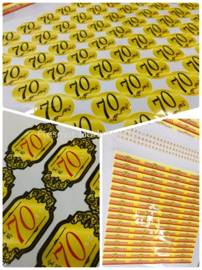 Inkjet Printing Sticker for 70th Birthday Party Celebration