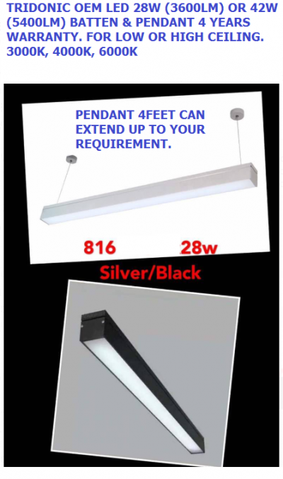 TRIDONIC OEM LED LIGHTS PENDANT OR SURFACE / BARE CHANNEL