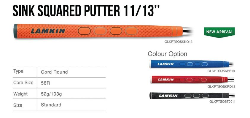 Lamkin Sink Squared Putter 11/13 inches Grip