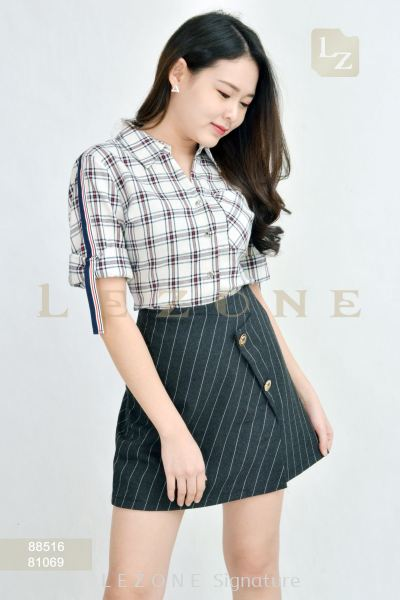 81069 STRIPED SHORT SKIRT