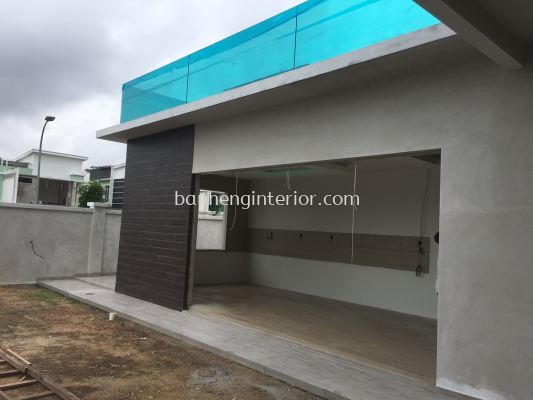 Kitchen Extension, Tiling Work, Ceiling Design, Balcony With Tempered Glass