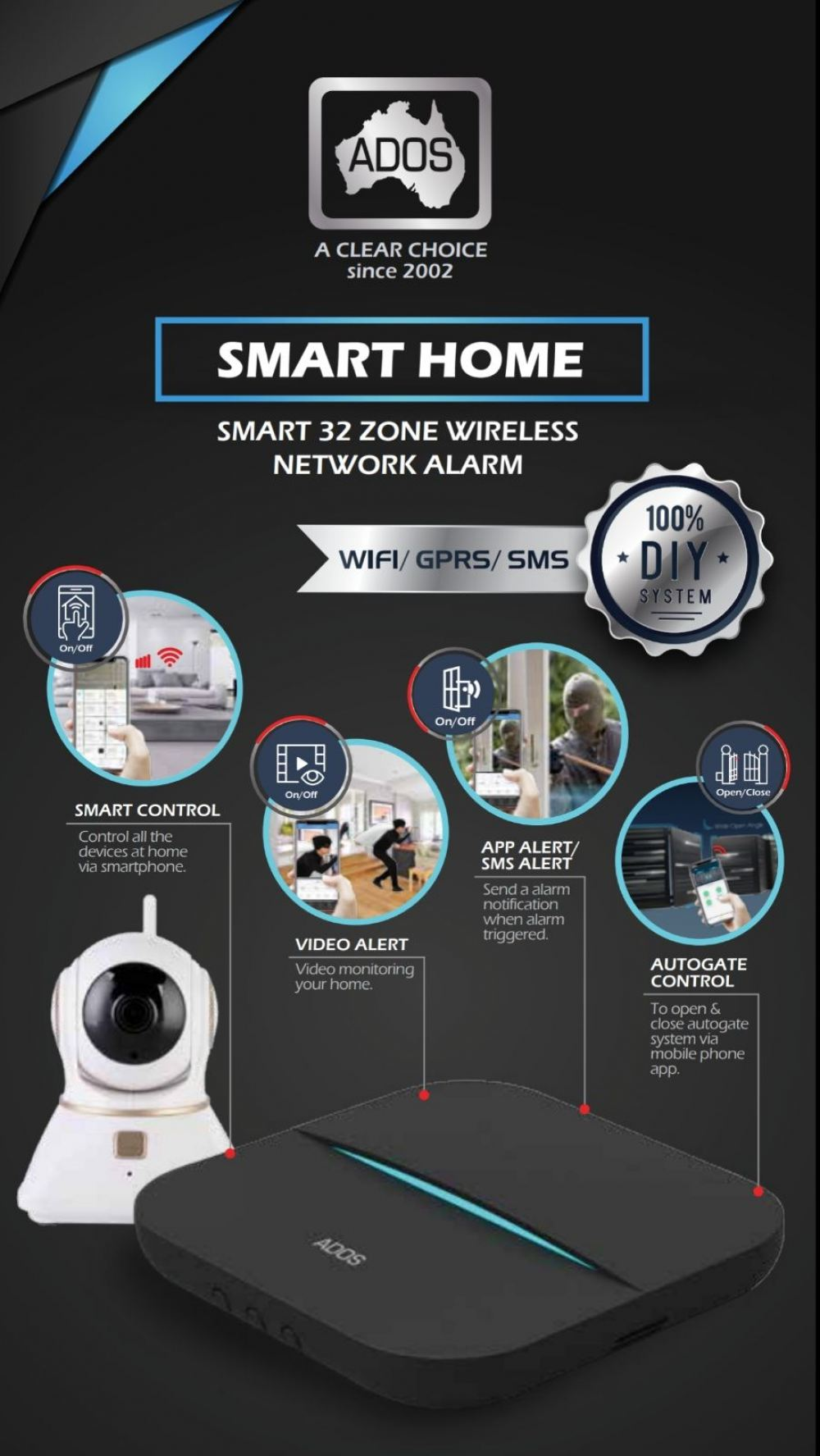 wifi alarm smart home (fully wireless) Wifi Alarm App Control & Notification ADOS Security Alarm System  Selangor, Malaysia, Kuala Lumpur (KL), Subang, Puchong Supplier, Supply, Supplies, Installation | The One Control