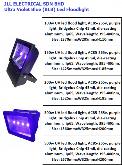 LED FLOODLIGHT ULTRA VIOLET BLUE (BLB) CONCERT, DISCO