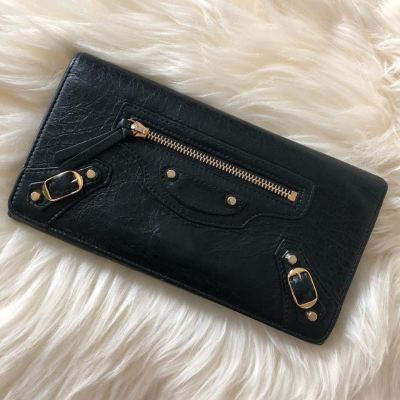 (SOLD) Balenciaga Classic Edge Long Wallet in Black with GHW