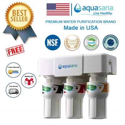 AQUASANA AQ-5300 Water Filter Water Purifier Filter - Made In USA (4 NSF Approved, 2 Years Housing Warranty)