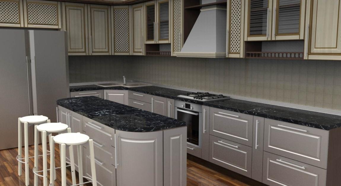 3D Interior Design Kitchen 3D Design Drawing