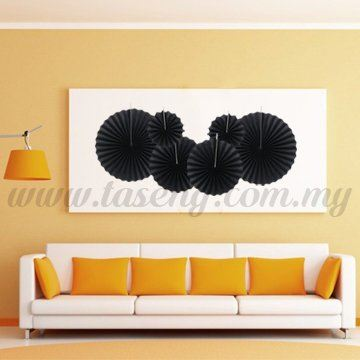 Paper Fan * Plain Black - 6pcs (PD-PF-80182)
