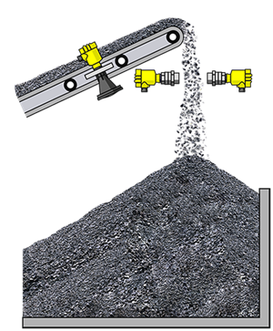 Level measurement of stockpiles