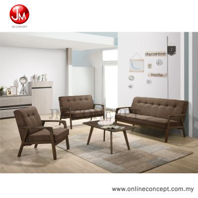 JM Concept Sandy Living Room Solid Wood Sofa Set 1+2+3 With Coffee Table (Brown)