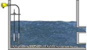 Level measurement and point level detection of stones and sand in the water basin Energy Vega Innovation