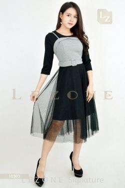 10303 CONTRAST MESH MIDI DRESS【BUY 2 FREE 3】