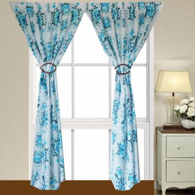 "1 SET CURTAIN PONGEE PRINTED BLUE (60""X 85"")"