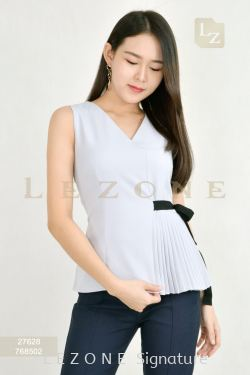 27628 SLEEVELESS PLEATED BLOUSE【BUY 2 FREE 3】