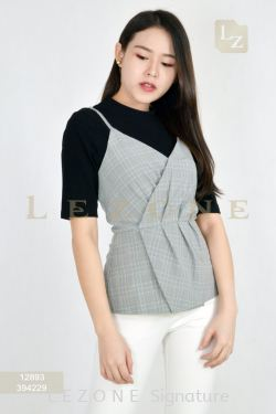 12893 PLAID 2 PCS CONTRAST BLOUSE【Online Exclusive Promo 41% OFF】