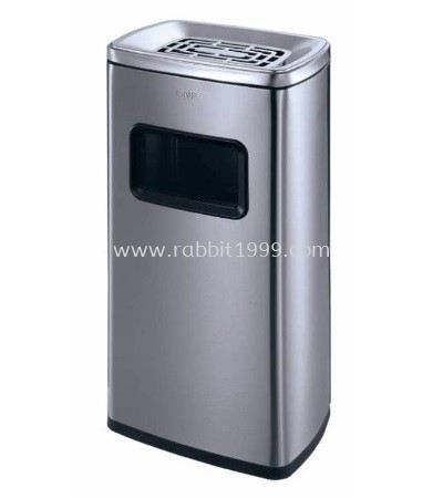 STAINLESS STEEL RECTANGULAR BIN C/W ASHTRAY TOP - 30 Litres