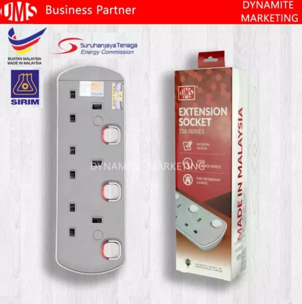 UMS 5Meter 3Gang 250V/13A Extension Neon Light Switch ( Seal Box £© UMS Extension Socket 3Gang UMS Extension Socket  Kuala Lumpur (KL), Selangor, Malaysia Supplier, Suppliers, Supplies, Supply | Dynamite Marketing